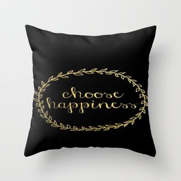 Black and Gold Choose Happiness Wreath Brushstroke Throw Pillow