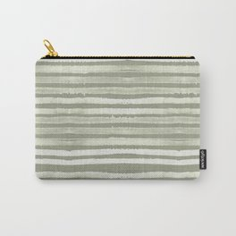 Simply Shibori Stripes Green Tea and Lunar Gray Carry-All Pouch