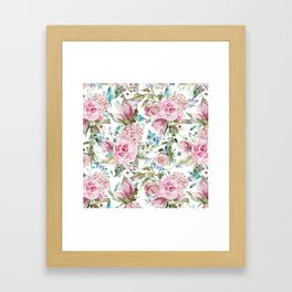 Country chic blush pink teal lavender watercolor floral Framed Art Print