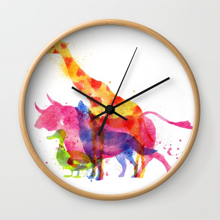 Colorful animals overprint Wall Clock