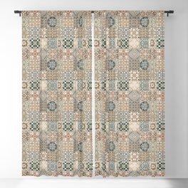 N49 - Oriental Traditional Moroccan Farmhouse Style Texture Artwork. Blackout Curtain