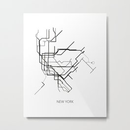 New York Subway Map Print New York Metro Map Poster,Subway Map Print,Metro Map Poster Metal Print