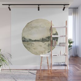 Watercolor Forest and Water Landscape Wall Mural