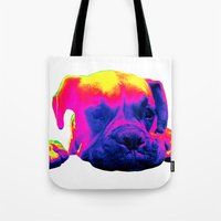 boxer Tote Bags featuring Boxer by Ty McKie Creations