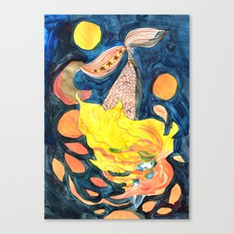 gold, Yellow and blue mermaid Canvas Print