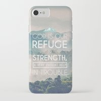 bible verses iPhone & iPod Cases featuring Typographic Motivational Bible Verses - Psalm 46:1 by The Wooden Tree