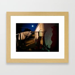 Full moon and lurking shadows Framed Art Print