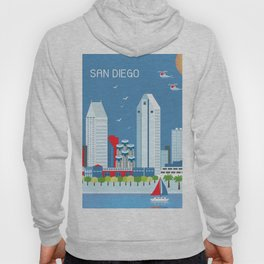 San Diego, California - Skyline Illustration by Loose Petals Hoody