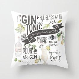 Gin Tonic Recipe In Watercolor Throw Pillow