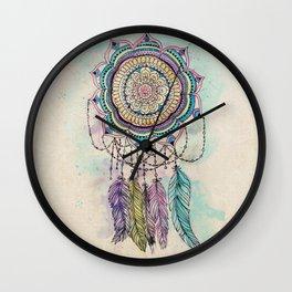 Modern tribal hand paint dreamcatcher mandala design Wall Clock