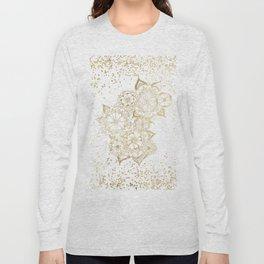 Hand drawn white and gold mandala confetti motif Long Sleeve T-shirt