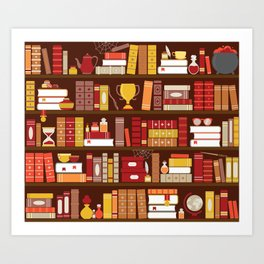 Book Case Pattern - Red and Gold Art Print