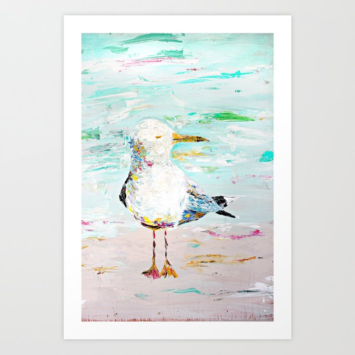 Seagull - Acrylic Palette Knife on Wood  Art Print