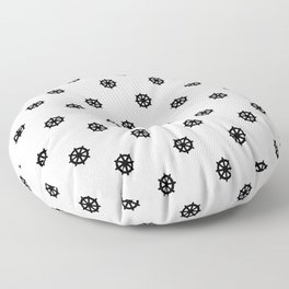 Dharma Wheel Pattern (Black and white) Floor Pillow