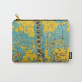 yellow and blue worn paint and rust texture Carry-All Pouch