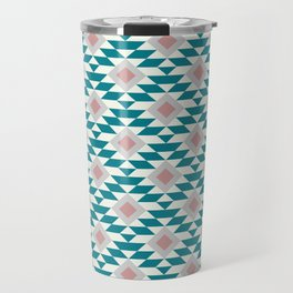 Abstract Contemporary Geometric Pink and Green Retro Pattern 03 Travel Mug