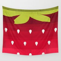 strawberry Wall Tapestries featuring Strawberry by Kakel