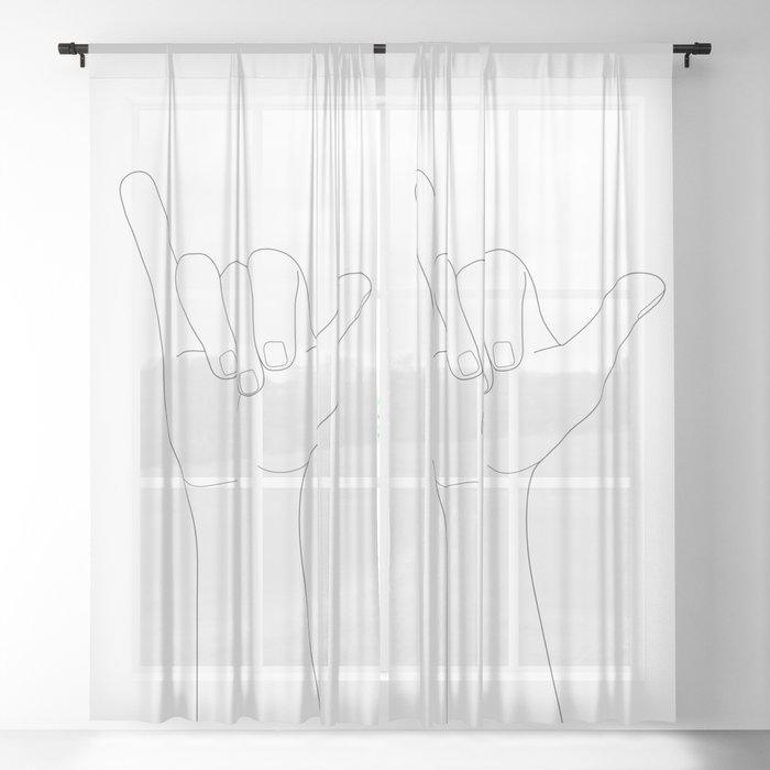 Minimal Line Art Shaka Hand Gesture Sheer Curtain