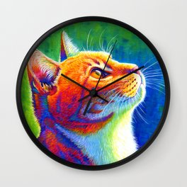 Rainbow Cat Portrait Wall Clock