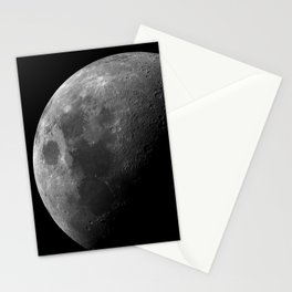 Grey Moon on Black Sky Stationery Cards