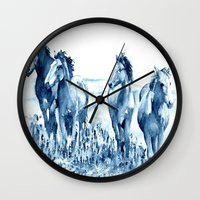 horses Wall Clocks featuring horses by Michele Petri