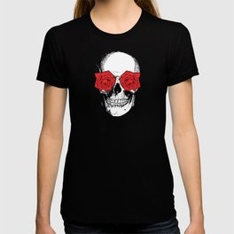 Skull and Roses | Grey and Red T-shirt