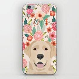 Labrador Retriever yellow lab floral pattern cute florals dog breed pure breed dog lover gifts iPhone Skin