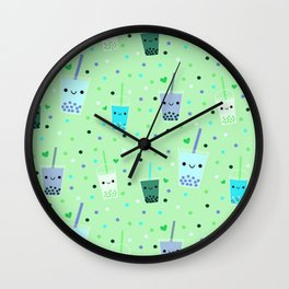 Happy Boba Bubble Tea Green Wall Clock
