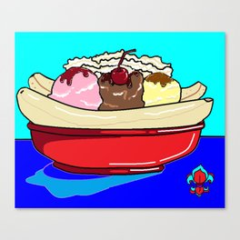 A Banana Split with Syrup on a Blue Table Canvas Print