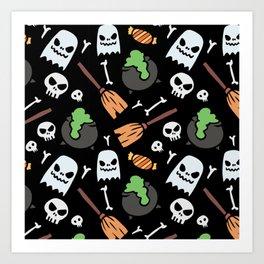 Happy halloween ghosts, skulls, bones, brooms, and pots Art Print