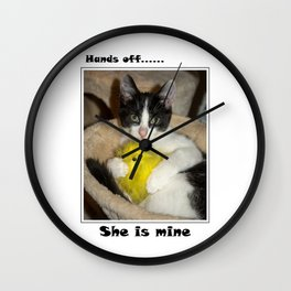 Easter cat and chick Wall Clock