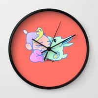 magical girl Wall Clocks featuring Magical pet (Baby Girl) by Olluga