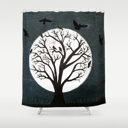 Peaceful Moon Night Gathering Shower Curtain