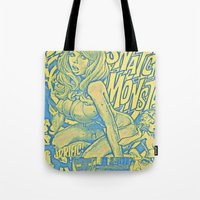 snatch Tote Bags featuring Attack Of The 50 Foot Snatch Monster  by S.D. Strobeck