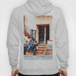 Old men sitting on the street Hoody
