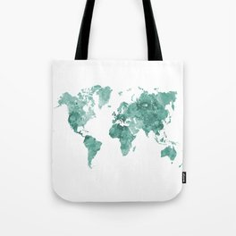 World map in watercolor green Tote Bag