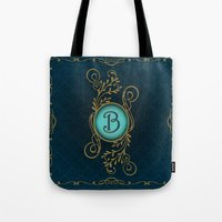 monogram Tote Bags featuring Monogram B by Britta Glodde