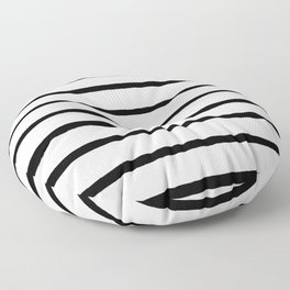 Black and White Rough Organic Stripes Floor Pillow