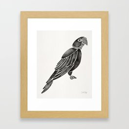 Perched Parrot – Black Palette Framed Art Print