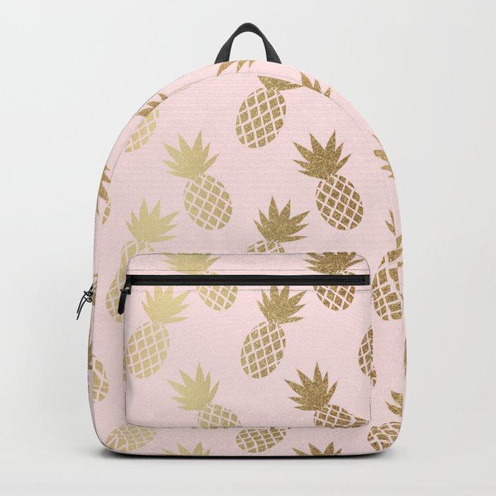 Pink & Gold Pineapples Pattern Rucksack