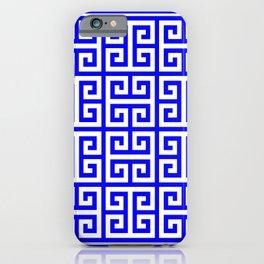 Greek Key (Blue & White Pattern) iPhone Case
