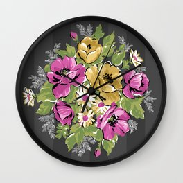 Floral Bouquet on Striped Background Wall Clock