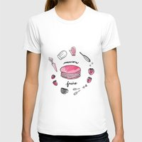 macaron T-shirts featuring Macaron Fraise by Fashion Doodles