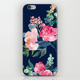 Navy and Pink Watercolor Peony iPhone Skin