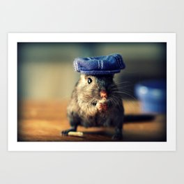 Gerbil Wearing A Denim Newsboy Hat Art Print