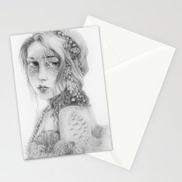Mermaid Mask, less contrast Stationery Cards