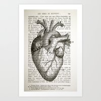 anatomical heart Art Prints featuring Anatomical Heart on French by CrowBiz