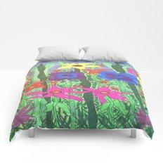 Bohemian Garden Floral Ilustration Comforters