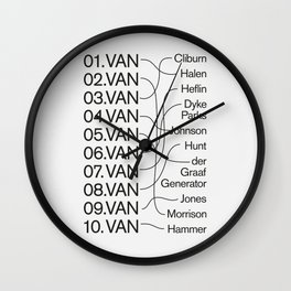 "Top TEN Famous ""Vans"" Wall Clock"