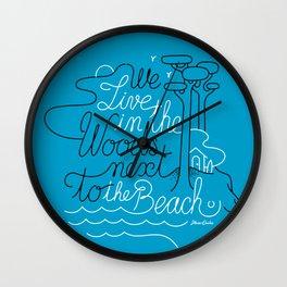 WOODY BEACH Blue Wall Clock